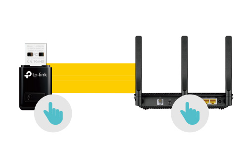 دکمه WPS در کارت شبکه بی سیم USB تی پی لینک TL-WN823N