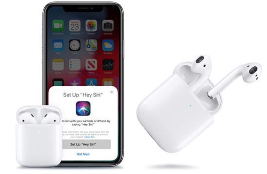هدفون بی سیم اپل AirPods 2 سازگار با دستیار صوتی Siri
