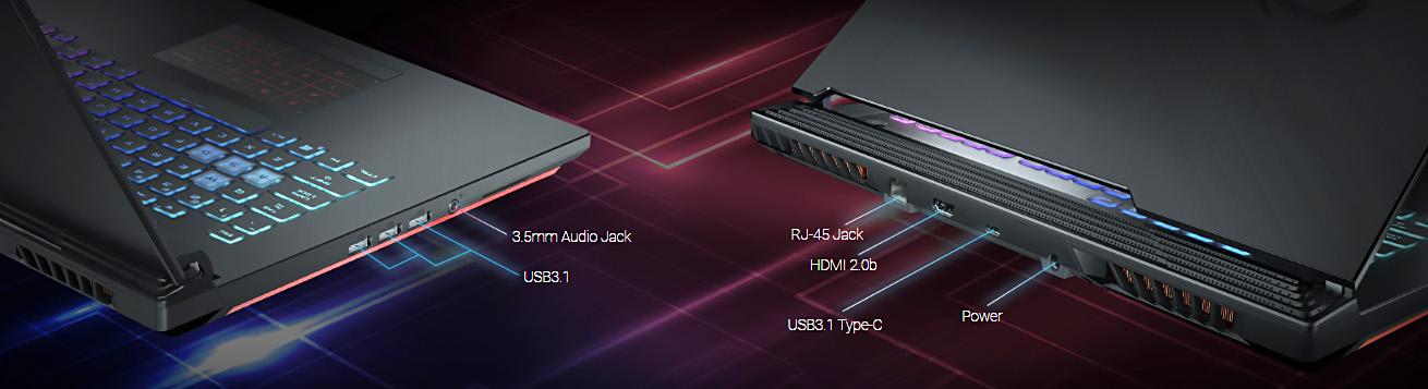 لپ تاپ گیمینگ ایسوس ROG STRIX G531GT با اتصالات متنوع