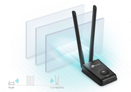 کارت شبکه بی سیم تی پی لینک TL-WN8200ND با نفوذ پذیری بالا